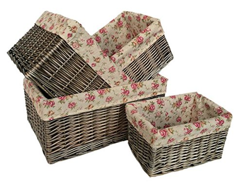 Antique Wash Garden Rose Willow Storage Baskets Set of 4 by Red Hamper