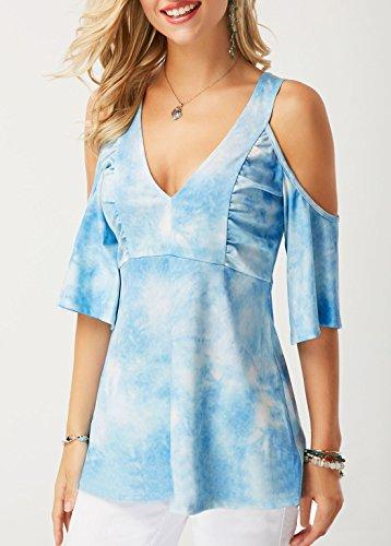 t Col V Shirts Bleu Imprim Manche Blouses Tops Haut Femme Fashion T paule Dnude Chemisiers Demi 44frHqRwn
