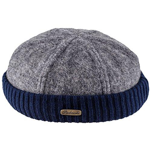 (Sterkowski Wool Beanie Docker Cap US 7 1/4 Gray+Navy Blue)