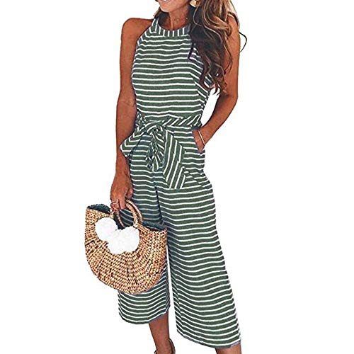 vermers Womens Long Bohemian Jumpsuits Summer Stripe Printed Sexy Trouser Casual Rompers(S, Green)