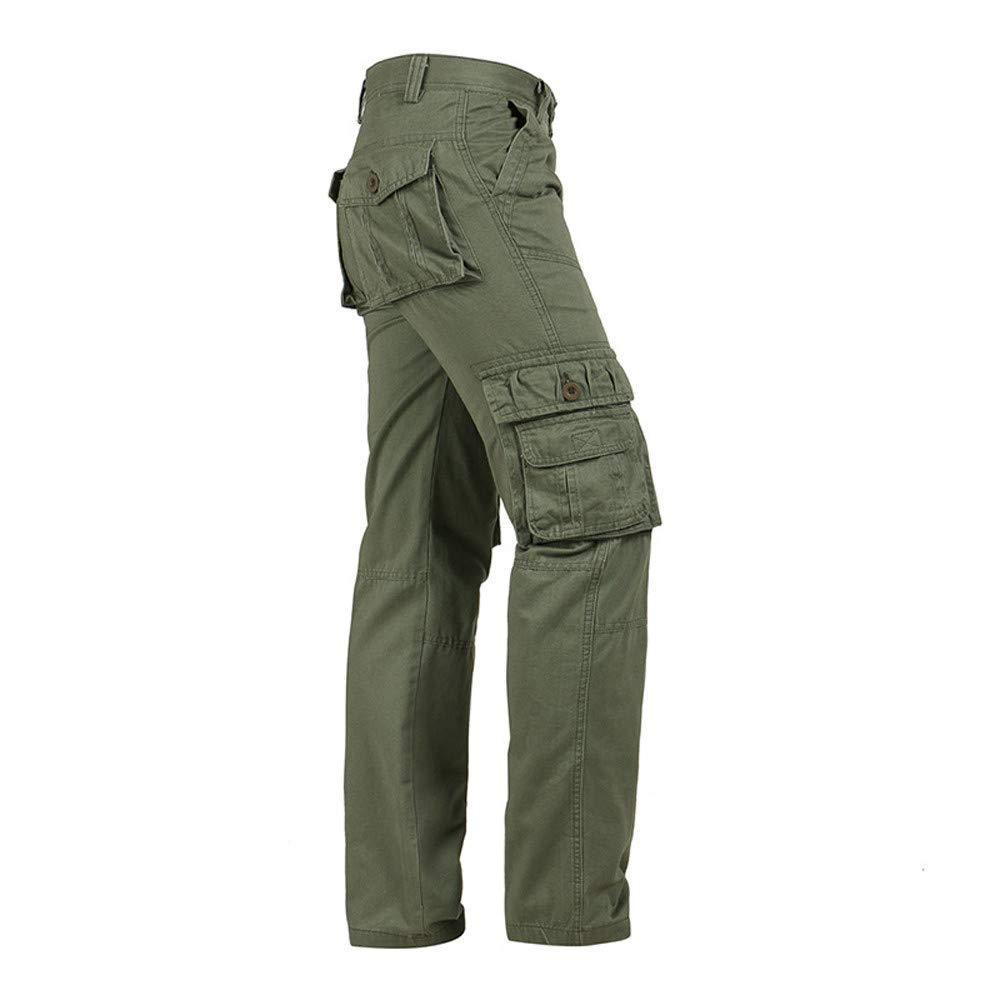 Fashion Mens Casual Outdoors Button Multi-Pocket Work Trouser Cargo Long Pants
