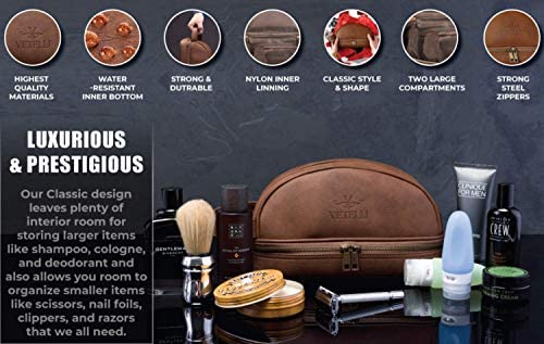 Leather Toiletry Bag For Men. Our Dopp Kit Comes With 2 Silicone Travel Bottles And Is A Perfect Gift And Travel Accessory For Men