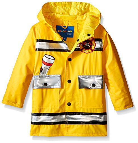 Wippette Little Boys' Toddler Fireman Rain Jacket and Boot Set, Gold, 4T