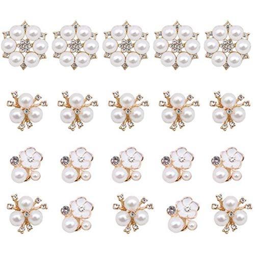 30 Pcs Rhinestone Pearl Embellishments, Faux Pearl Flower Embellishments Pearl covid 19 (Pearl White Gold Brooch coronavirus)