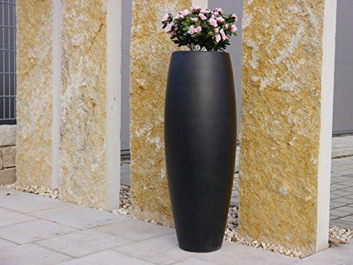 Macetero Zen de fibra de vidrio 58 x 58 x 150 cm en negro, Vidrio, macetero, grande, XXL, redondo: Amazon.es: Jardín