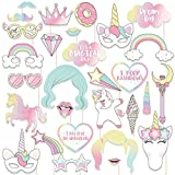 paper horse mask - Sparkling Unicorn Photo Booth Props - Rainbow Birthday Party Supplies Decorations