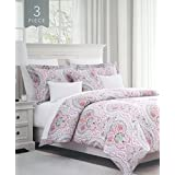 Duvet Cover Set Queen Size Bed Luxury 3 Piece 100% Cotton, Intricate Colorful Geometric Floral Paisley Medallion Pattern Blue Yellow Peach Purple Pink Gray White, Lydney Tropica, Envogue