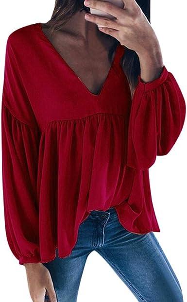 RUIRUILICO - Camiseta de Manga Larga para Mujer, Cuello en V, para otoño e Invierno Rojo XXL: Amazon.es: Ropa y accesorios