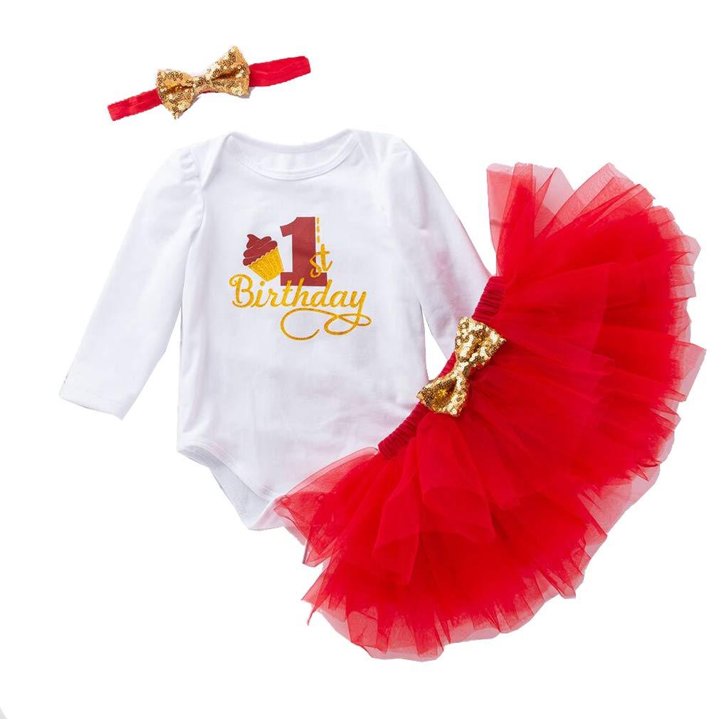 Gagacity Baby M/ädchen Kleidung Set 3PCS 1st Geburtstag Langarm Baumwolle Romper T/üt/ü T/üllrock Stirnband