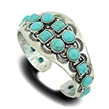 Jianxi Vintage Tribal Southwest Faux Turquoise Zuni Navajo Aztec Cowgirl Bracelet Bangle Cuff