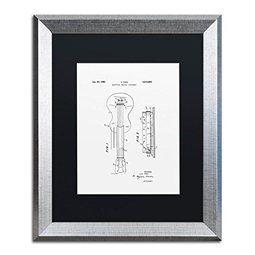 Trademark Fine Art Gibson Electric Guitar Patent White by Claire Doherty, Black Matte, Silver Frame 16x20-Inch