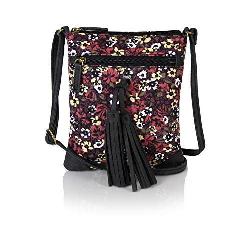 Vegan with Swing Bag Festival Tassel Leather Mini Crossbody Small Chic Canvas Purse Floral RwOqf5Xxn