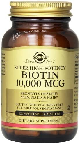 Solgar Biotin Vegetable Capsules, 10,000 mcg, 120 Count (Pack of 3 (120 ct ea))