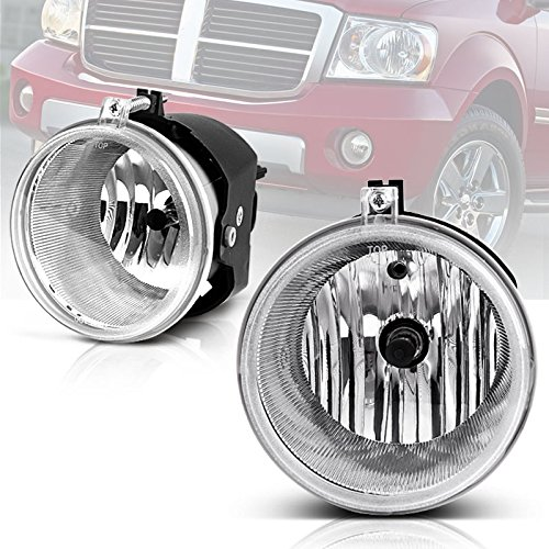 AUTOSAVER88 Fog Lights For Dodge Dakota Durango 2005-2009 Jeep Commander Cherokee 2004-2010 Mitsubishi Raider 2006-2008 Chrysler Aspen 300 SRT8 2007-2009 (OE Style Clear Lens w/ Bulbs)