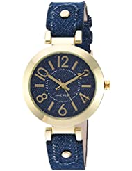 Nine West Womens NW/1712DDDM Gold-Tone and Dark Blue Denim Strap Watch