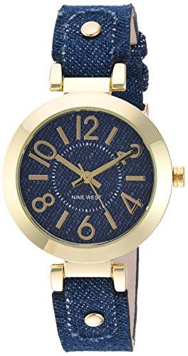 Nine West Women's old-Tone and Dark Blue Denim Strap Watch ()