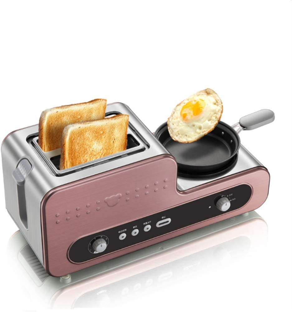 JINJN Retro 3-in-1 Family Size Breakfast Station Multifunction Toaster Ovens 2 Slices Food Steamer Omelette Steak Frying Pan