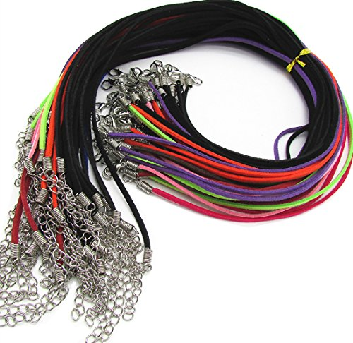 Necklace Suede Jewelry 18' (Micro-Fiber Flat Leather Lace Beading Thread Faux Suede Necklace Cord Rope Leather Each 18'' for Jewelry Making Design 2.6mm (20))