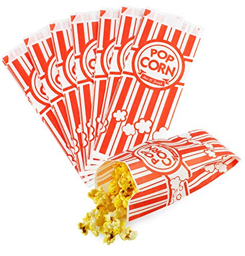 (Chefible Movie Theater 2oz Medium Sized Popcorn Bags, Classic Red and White Stripe, Fun Design, Perfect for Parties and Events! Set of 100)