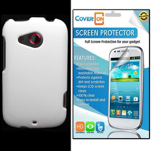 CoverON® HTC Desire C Hard Rubberized Slim Case Cover Bundle with Clear Anti-Glare LCD Screen Protector - White (Htc Desire C Cover compare prices)
