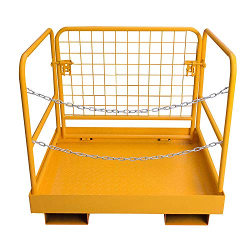 Yesjoy 36''x29'' Attachments Forklift Safety Cage Work Platform, Tensile Steel Heavy Duty Collapsible Lift Basket Aerial Fence Rails Fold Constrution