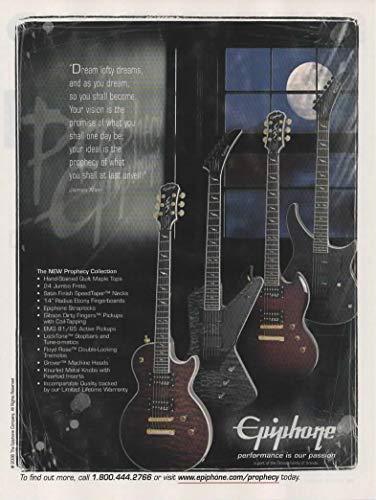 Magazine Print ad: 2008 Epiphone New Prophecy Collection Guitars: Les Paul GX, SG GX, Futura FX, EM-2 FX,