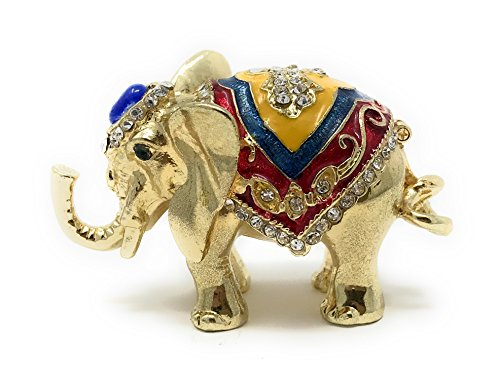 Kubla Crafts Enameled Elephant Trinket Box, Accented with Austrian Crystals ()