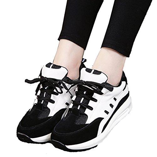 La Primavera Y El Otoño Sra CHT Calzado Deportivo Informal Mate Gruesa Corteza Black1