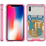 TurtleArmor | Compatible for Apple iPhone X Case | Apple iPhone 10 Case [Flexible Armor] Slim Shockproof Hard Bumper Cover Flexible TPU Case with Pink Edges - Crest Stripes