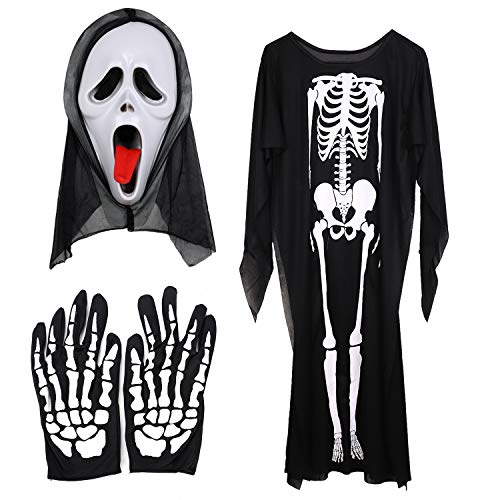 Women Halloween Ghost Costume 3pcs Cosplay Set Pack of Skeleton Overall Scream Face Mask Skull Gloves Men Cosplay Ghost Reaper Screaming Ghost Kids Costume One-Piece Dress Girls Boys Child Large -