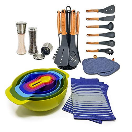 Deluxe Cookware Set with Nesting Mixing Bowls + Cooking Utensils + Salt & Pepper Shakers + Kitchen Towels + Pot Holders