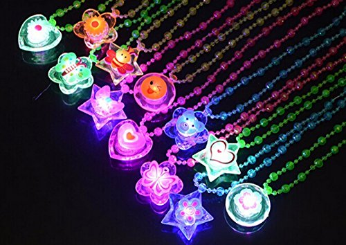 LED Flashing Crystal Necklace - Pack of 12 - Great for Parties and for Halloween (Led Necklace)