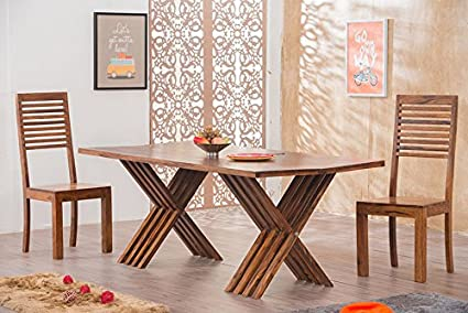 Mamta Decoration Solid Wood Leh Dining Table Set 6 Seater   ( Table + 6  Chairs
