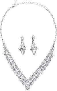 iMETACLII Mariage Mariée Fête Bal de Marquise Cristal Strass Cluster Long V-Forme Pendentif Collier Boucles d'oreilles Set