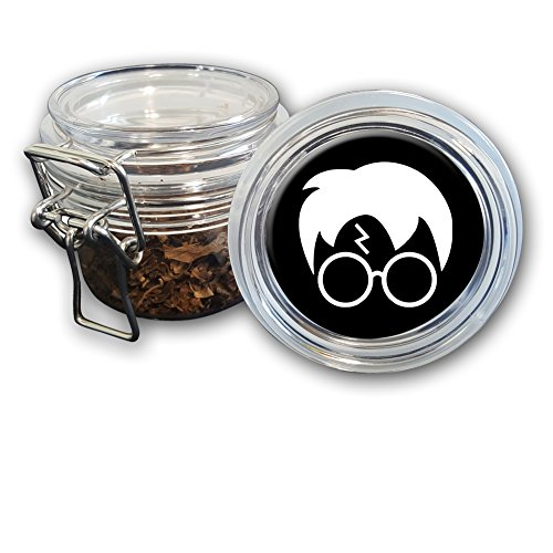 Airtight Stash Jar with Silicone Seal - Harry Glasses Lightning Bolt Hair - Food-Grade Plastic with Locking Wire Top - Smell Proof Hermes Container
