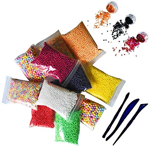 Halloween Foam Beads for Slime 15 Pack Supplies Kit - Include Colorful Dark Colors Foam Balls & Confetti Stars + Slime Tools Set | Perfect for Your Kids DIY Homemade Slime Art Craft Decorations]()