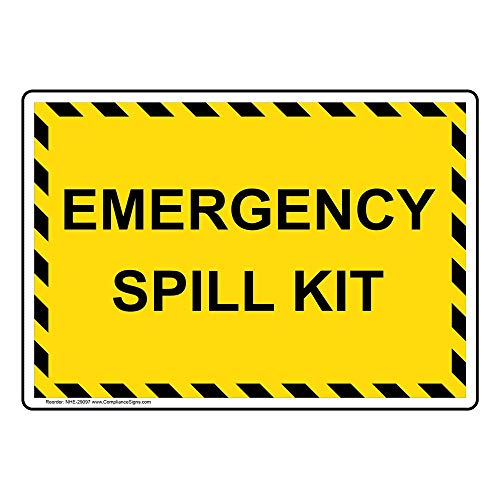 Emergency Spill Kit Label Decal, 5x3.5 inch 4-Pack Vinyl for Hazmat Industrial Notices Facilities by ComplianceSigns (Spill Kit Sticker)