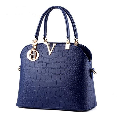 Femmes sac à main sacs à bandoulière fourre-tout sac à main en faux cuir Bleu