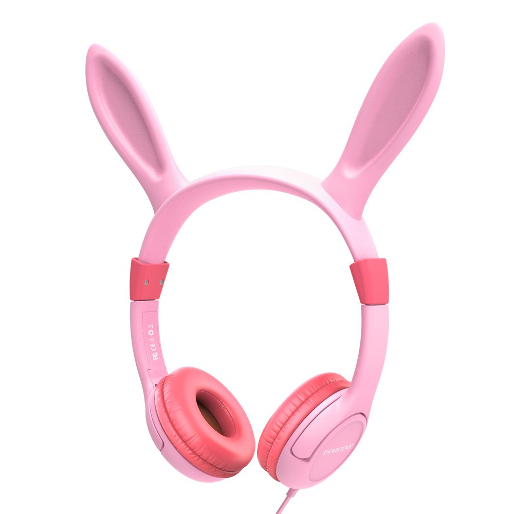 Volume Limiting Kids Headphones Girls,85dB barsone Over Ear Wired Headset with Music SharePort,Food Grade Silicone,Cute Bunny Headphones for Children Toddlers Pink