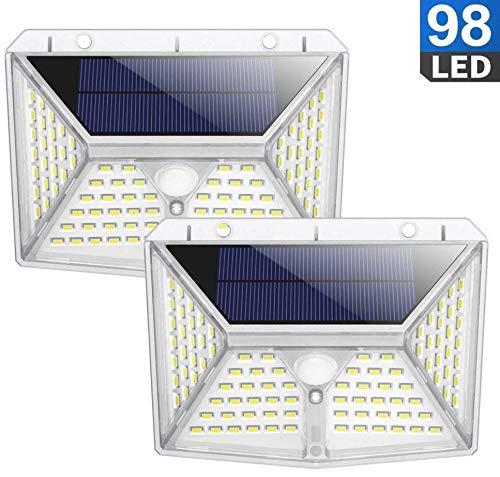 Solar Lights Outdoor,98 LED PIR Motion Sensor Light IP65 Garden Outdoor Lighting Energy Saving Street Lamp for Patio Deck Yard Garden Pathway Driveway 2pcs