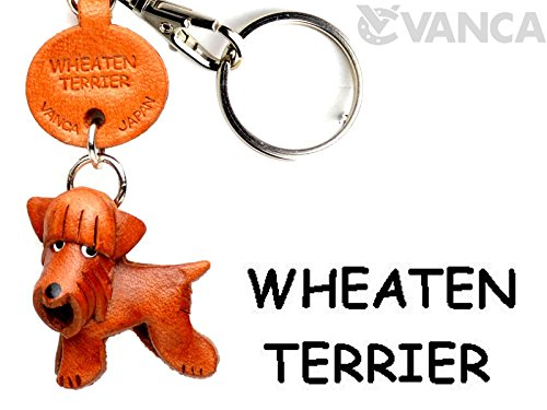(Wheaten Terrier Leather Dog Small Keychain VANCA CRAFT-Collectible Keyring Charm Pendant Made in Japan)
