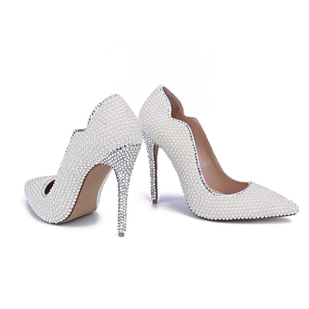 Moontang Damen Weiß Pearl High Heels Brautmode Spitzen Walking Hochzeit Schuhe Reine Farbe High-End-Star Walking Spitzen Zeigen Schuhe (Farbe   Weiß Größe   2.5-3UK(Foot Length 22.5CM)) baf612
