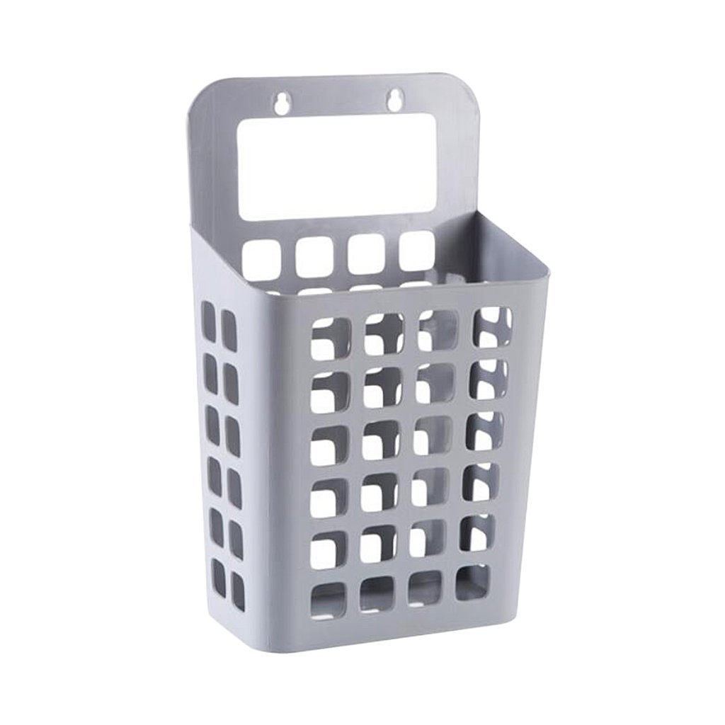 Homyl Beige/Gray/White Plastic Hanging Laundry Hamper with Handle Dirty Clothes Basket Toys Books Snacks Storage Box - Gray