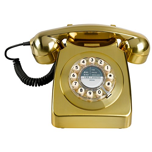 Wild Wood 746 Retro Design Phone, Metallic Brass by Wild Wood