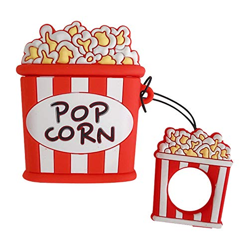 Ultra Thick Soft Silicone Pop Corn Case and Finger Loop for Apple Airpods with Charging Case Protective Mini Bag Protector Food Shaped Cute Lovely Cool Fun Girls Teens