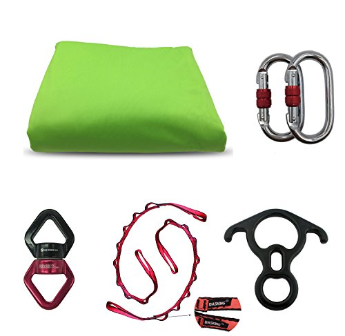 Dasking Premium Aerial Silks Equipment - Safe Deluxe Aerial Kit (green)
