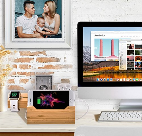 BoxThink-Charging-Station-Apple-Watch-Airpods-Charger-Stand-iphone-Charging-Dock-Cable-Management-Wood-Charging-Station-with-3-USB-Ports-Compatible-with-AirPodsApple-Watch-Series321iPhone
