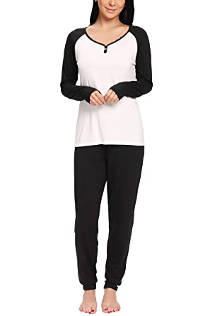 9d06825b702d7b nine bull Women's Pajama Sets Modal Long Sleeve Sleepwear V Neck Soft PJ  Sets Black
