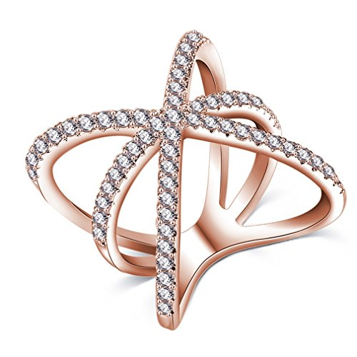 Tacori 18k Cross (FENDINA Women 18K Rose Gold Plated Best Freiend Rings Cross X Shaped with Tiny CZ Paved Mid Finger Rings Size 6-10)