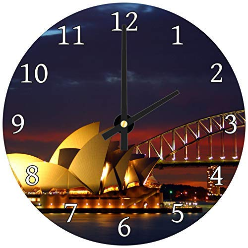 (hiusan Sydney Opera House Cool Wood Wall Clocks Decorative Living Room,Wall Clock Non Ticking,12in,Silent,for Kids)